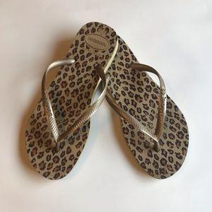 Havaianas Animal Leopard Print Flip Flop Sandals